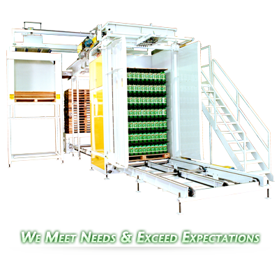 Ouellette Machinery Systems Bulk Low and High Level DePalletizers are Customizable to your bottling needs.