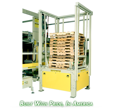 Ouellette Machinery Systems Pallet Stackers & Pallet Despensers are Customizable to your bottling needs.