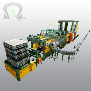 OMS Palletizers and automatic palletizer machine can be custom built to your specification for container and packaging systems