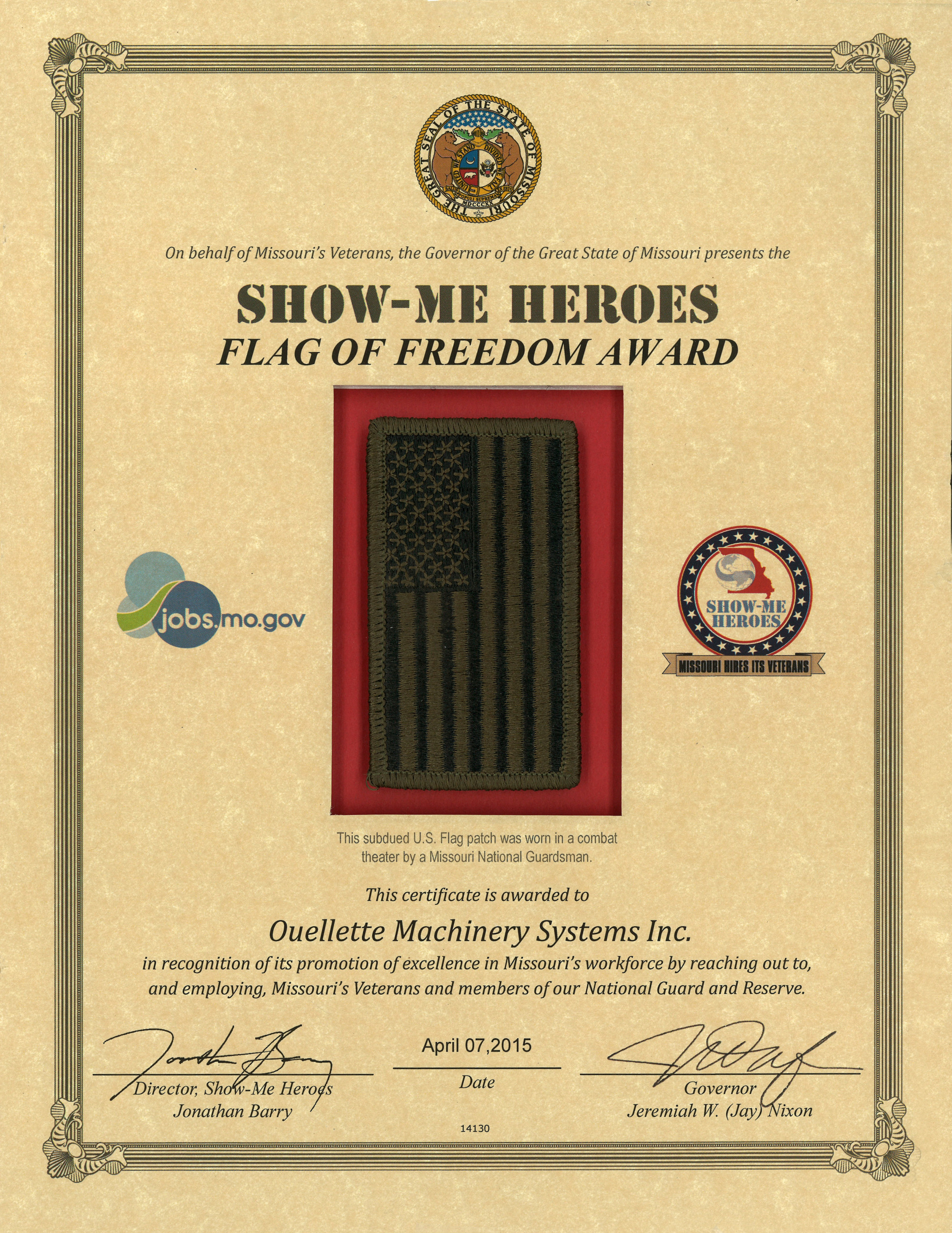 Flag of Freedom Award