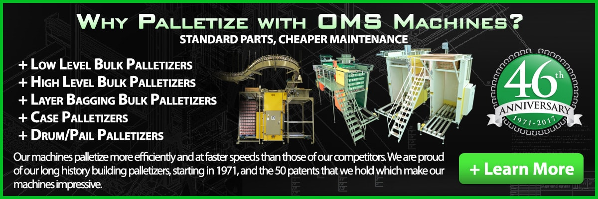 OMS are world leaders in the palletizing industry and can help your company reach its full potential.