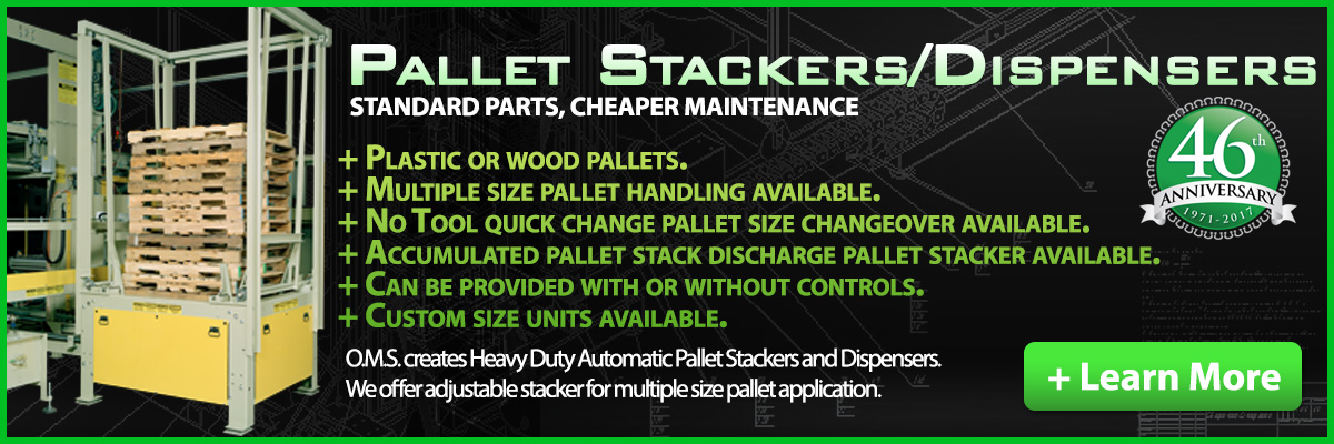 Pallet Pallet Stackers & Pallet Dispensers. O.M.S. offers Pallet Stackers as self contained freestanding units.