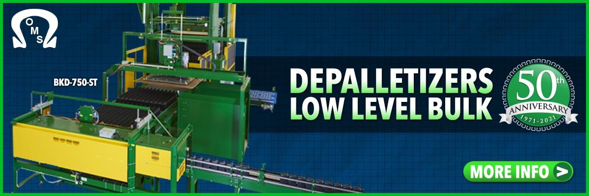 depalletizers production line level discharge bulk